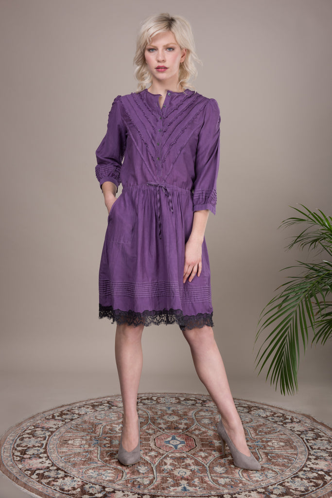 purple dress in cotton silk long sleeve with lace hem trim
