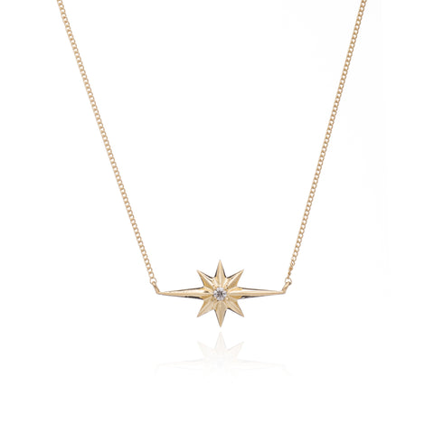 Shooting Star Diamond Necklace  Gold Plated