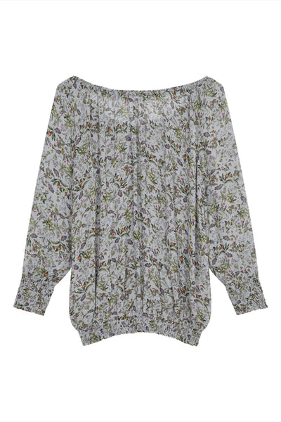 Melanie Press collection sweetie pullover top in grey botanical