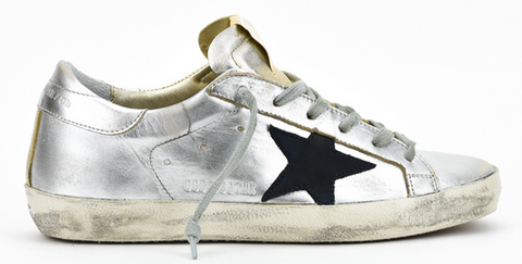 Golden Goose Superstar Metallic Sneakers in Silver