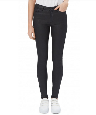 Saltspin Leather Look Black Skinny Jeans