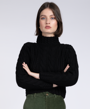 Load image into Gallery viewer, Aran crop knit black Jumper