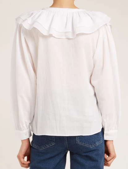 Masscob white shirt with ruffle v-neck