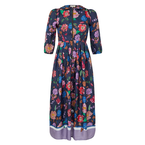 sonnet dress silk floral print navy melanie press