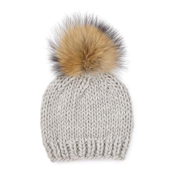 Rose & Rose St Bernard Hat in Grey with Two Pompoms in Grey and Nature