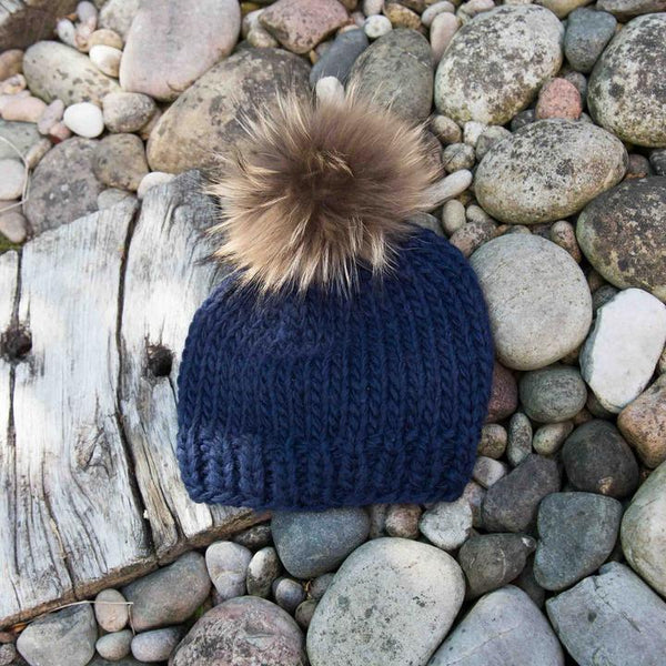 Rose & Rose St Bernard Hat in Navy with Two Pompoms in Navy and Nature
