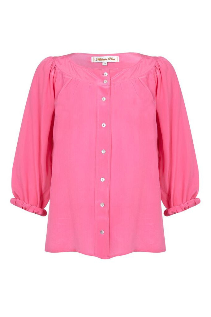 Melanie Press Eve Silk Blouse Fuchsia