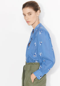 Kalinda ocean blue embroidered shirt