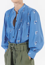 Load image into Gallery viewer, Kalinda ocean blue embroidered shirt