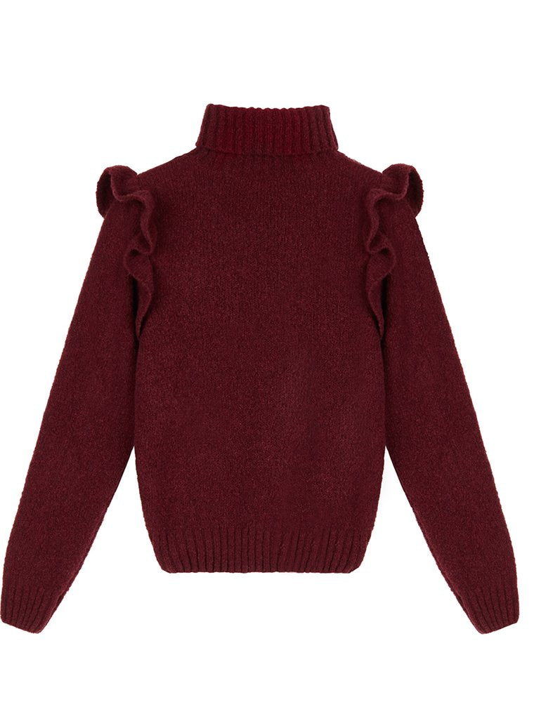 Masscob burgandy polo neck knitted jumper
