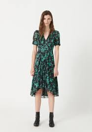 masscob gina print midi waterfall dress