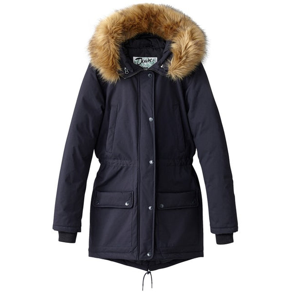 Navy Parka with faux fur trim