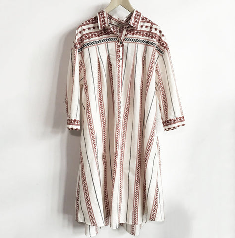 Floating Bohemian shirt-dress in red, black and beige