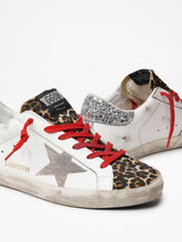 Load image into Gallery viewer, Superstar white leather with leopard  tongue glitter spur sneaker