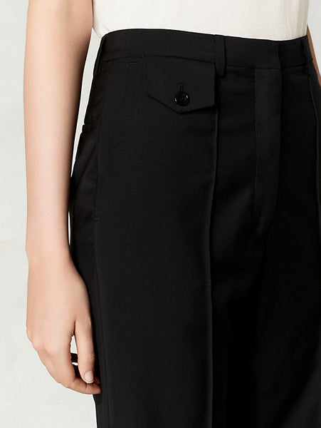 Lightweight wool high waist trousers in suit optic