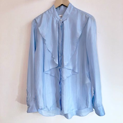 Light blue silk shirt in shiny optic