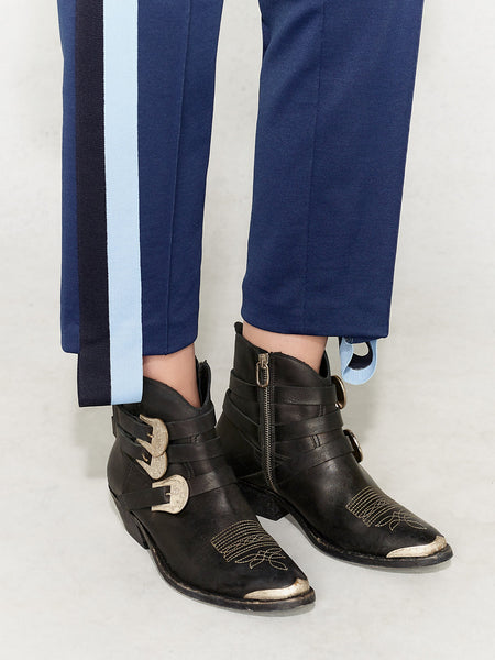 Soft suit trousers in navy with light blue side stripe