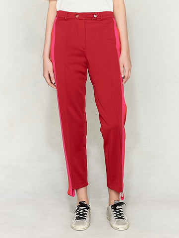 Soft suit trousers in red with pink side stripe