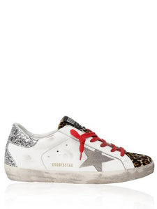 Superstar white leather with leopard  tongue glitter spur sneaker