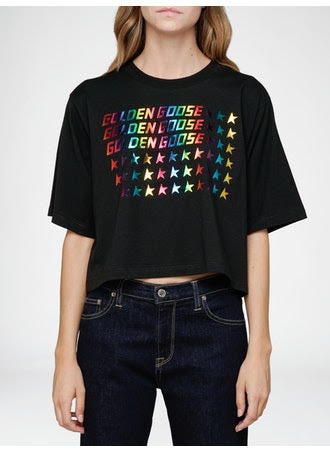 Golden goose logo crop tee
