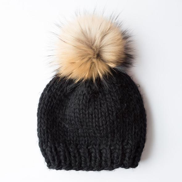 Rose & Rose St Bernard Hat in Black with Two Pompoms in Black and Nature