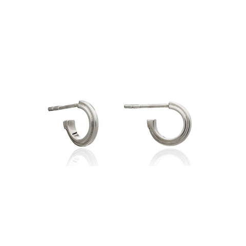 Rachel Jackson Mini Stepped Hoops in Silver