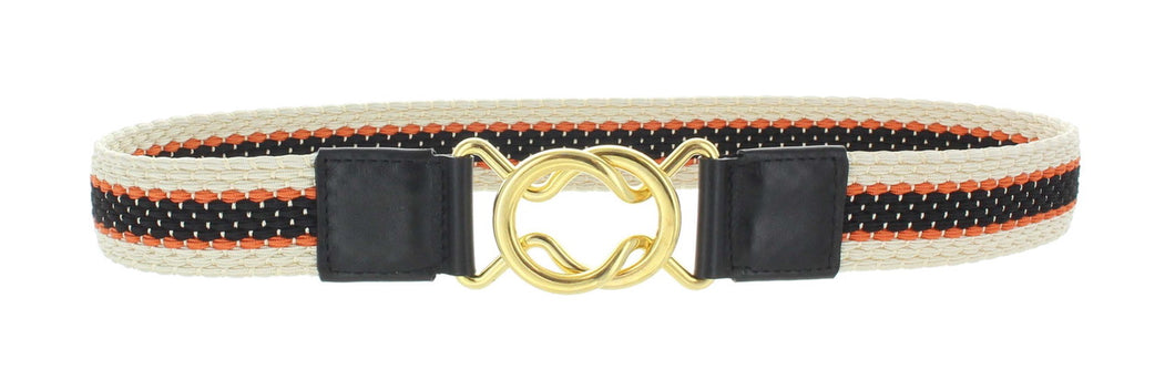 Two Tone Stripe Belt in Burg Navy with '8' closure