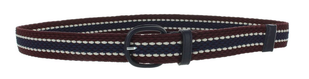 Elastic stripe braided buckle belt in burgundy navy