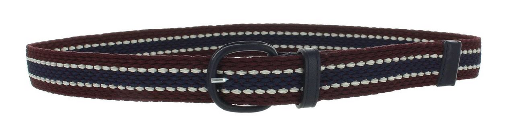 Maison Boinet Plaited navy burgundy stripe belt