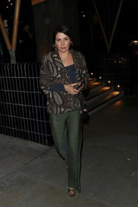 Sadie Frost Cressida Lurex Glitter Green Evening Trousers