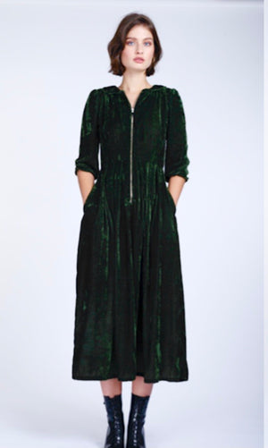 Sonnet long velvet dress green