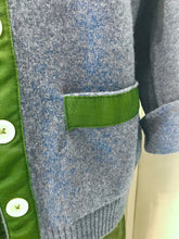 Load image into Gallery viewer, Grosgrain green trimmed blue cardigan