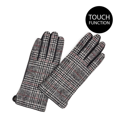 Helly Leather Wool Gloves in Adelaide Check