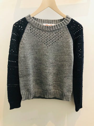 Belinda Bicolour Knit in Grey Navy