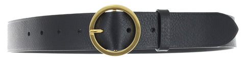 Round brass buckle black leather belt
