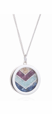 Rachel Jackson Chevron Rainbow Amulet Necklace in Silver