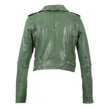 Load image into Gallery viewer, Crop green leather biker jacket