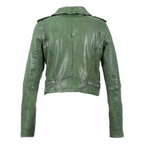 Crop green leather biker jacket