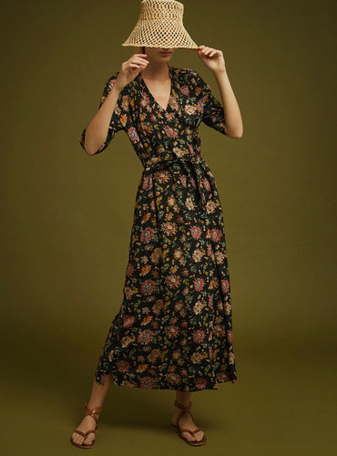 Soeur fuku wrap print midi dress
