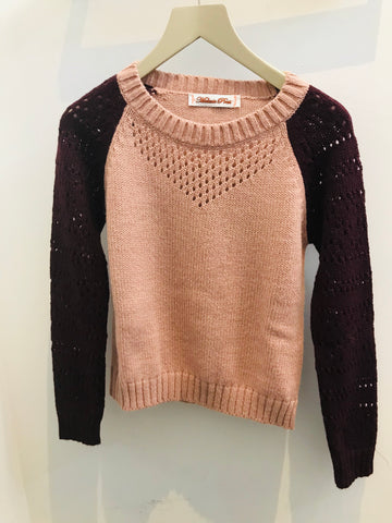 Belinda Bicolour Knit in Pink Burgundy