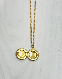 Vintage bee locket necklace