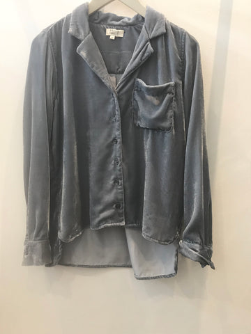 Blue grey velvet Jodie shirt