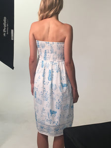 press strapless toile de jouy dress
