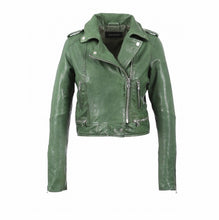 Load image into Gallery viewer, Oakwood crop leather biker green jacket