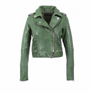 Oakwood crop leather biker green jacket