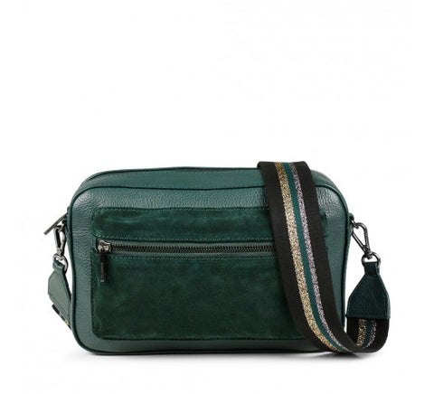 Dark green suede crossbody bag