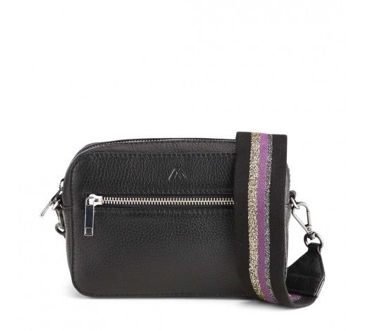 Elea Crossbody leather bag in black/purple