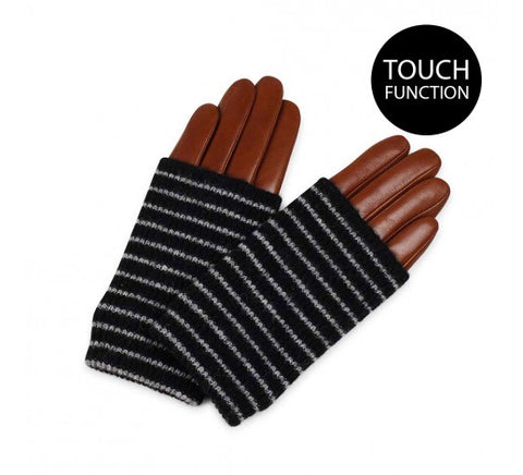 Helly Leather Gloves in Chestnut & Stripe by Markberg