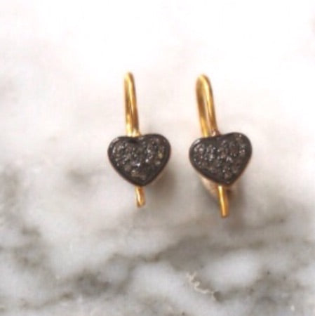 Heartie diamond and gold earrings