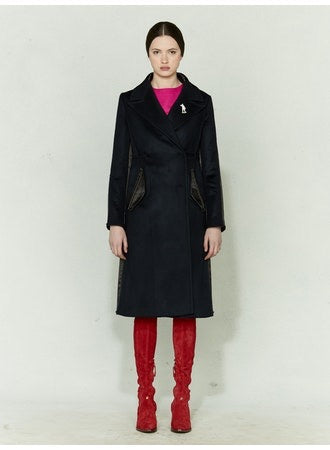 Wool Contrast Trim Trench